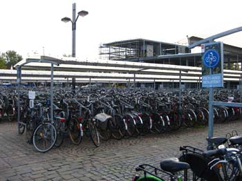 Bicycles parking at the Bruge Train Station